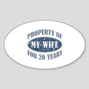 Funny 20th Anniversary Sticker (Oval)